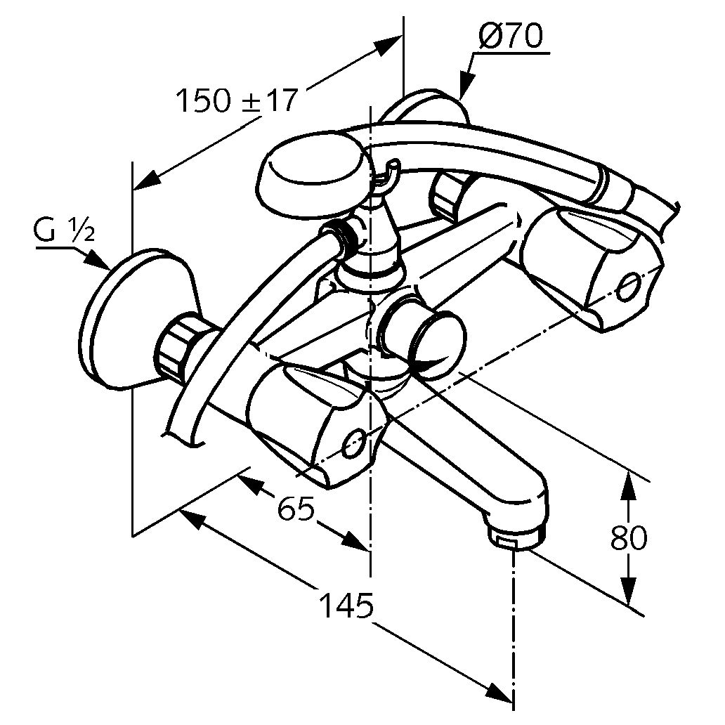 90 Схема крепления смесителя для ванной